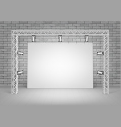 blank picture standing with brick wall spotlights vector image vector image