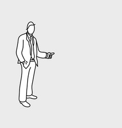 businessman pointing to empty copy space vector image