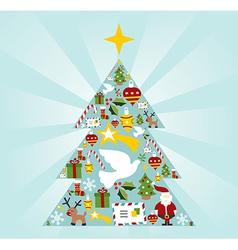 Christmas icon set in season tree shape vector image