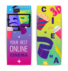 Cinema two isolated vertical banners vector