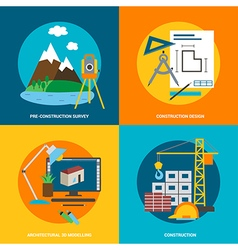 Conceptual icon set for construction in flat style vector image vector image