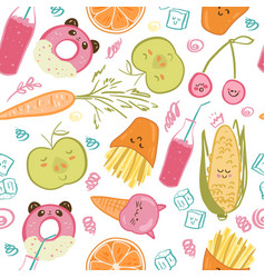 cute food seamless pattern vector image vector image
