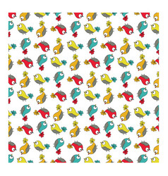 doodle colorful bird pattern seamless vector image vector image