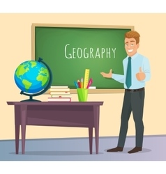Geography teacher stands at the blackboard vector image