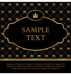 Golden Label with crown on Damask Background vector image vector image
