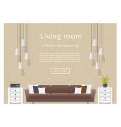 graceful living room interior banner for your web vector image vector image