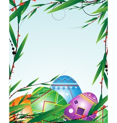 Green branches and bright easter eggs vector