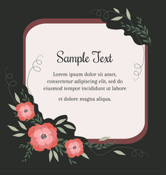 Greeting card with flowers in vintage style vector