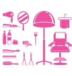 Hair salon equipments set monochrome vector