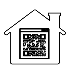 Isolated qr code and house design vector