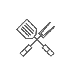 Kitchen spatula and big fork line icon vector image vector image