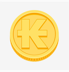 lao kip symbol on gold coin vector image vector image