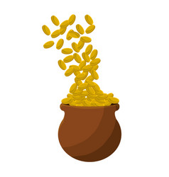 Many coins inside of flowerpot vector