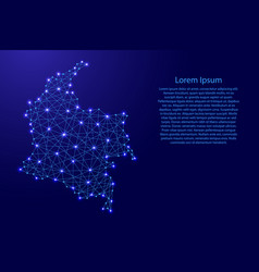 Map of colombia from polygonal blue lines vector