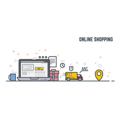 online shoping and delivery vector image
