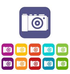 photo camera icons set vector image