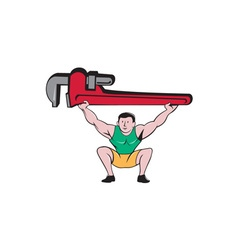 Plumber weightlifter lifting monkey wrench cartoon vector