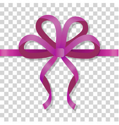 Purple thin bow on transparent background vector
