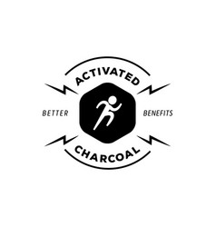 running man logo with activated charcoal vector image vector image