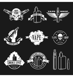 Set of vape e-cigarette emblems labels prints vector