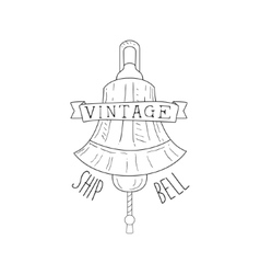 Ships bell vintage sea and nautical symbol hand vector