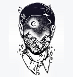 Surreal man face mountain landscape night sky vector