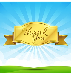 Thank you text with tag ribbon on the nature vector