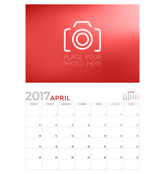 Wall calendar planner template for april 2017 vector