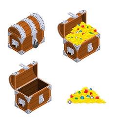 Treasure chest set outdoor and indoor old casket vector
