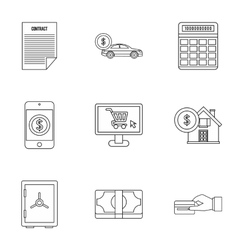Bank and money icons set outline style vector