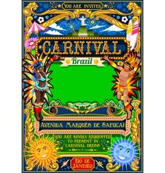 Rio carnival poster brazil carnaval mask show vector