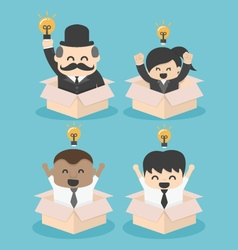 Businessman think outside the box flat set vector