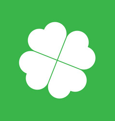 shamrock silhouette - white four leaf clover icon vector image