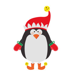 silhouette of penguin with boots and gloves and vector image