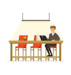 Businessman working with laptop in the open space vector