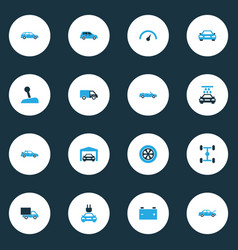 Car colorful icons set collection of garage van vector