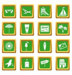 Miami icons set green vector