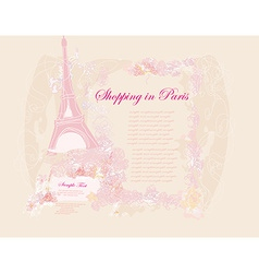 Vintage retro eiffel in paris card vector