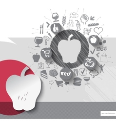 Hand drawn apple icons with food icons background vector image