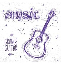 guitar doodle vector image