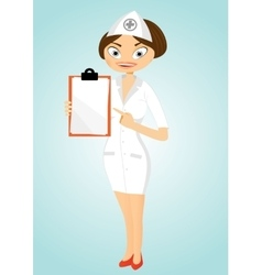 Beautiful confident nurse with clipboard vector