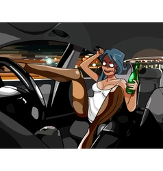 Cartoon funny drunk girl in the car with a bottle vector