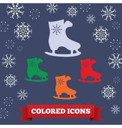 Skating icon sport winter symbol colored skate vector