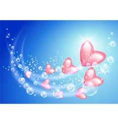 Pink hearts with bubbles vector image