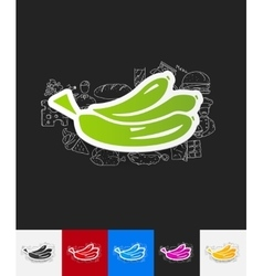 Banana paper sticker with hand drawn elements vector