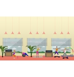 Fitness center interior vector