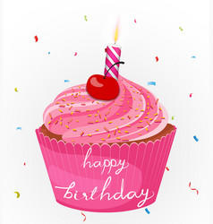 Happy birthday cake with candle and confetti vector