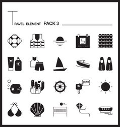 Travel element line icon set 3beach and sea vector