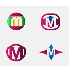 Abstract m round logo design template vector