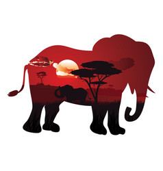 African sunset with elephant vector